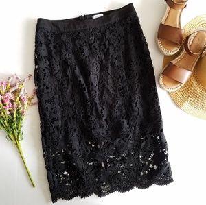 JOA | Black Lace Crochet Pencil Midi Skirt Medium